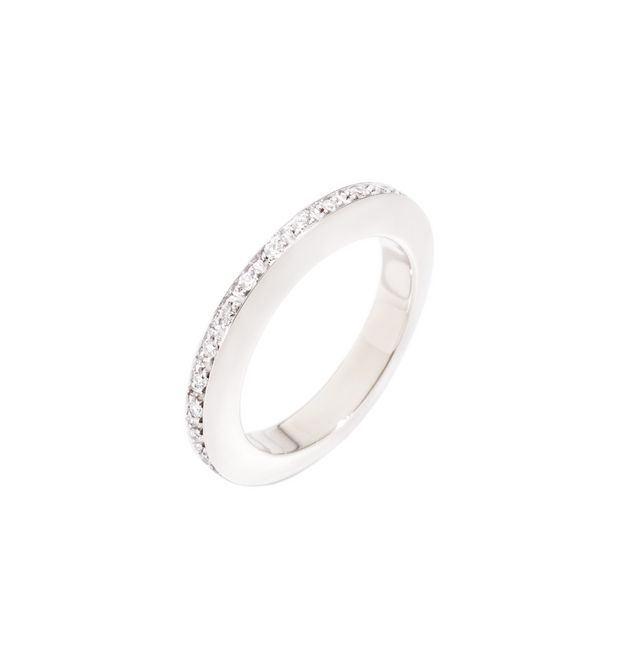 ANELLO DISC - Oro bianco 9 kt, Diamanti