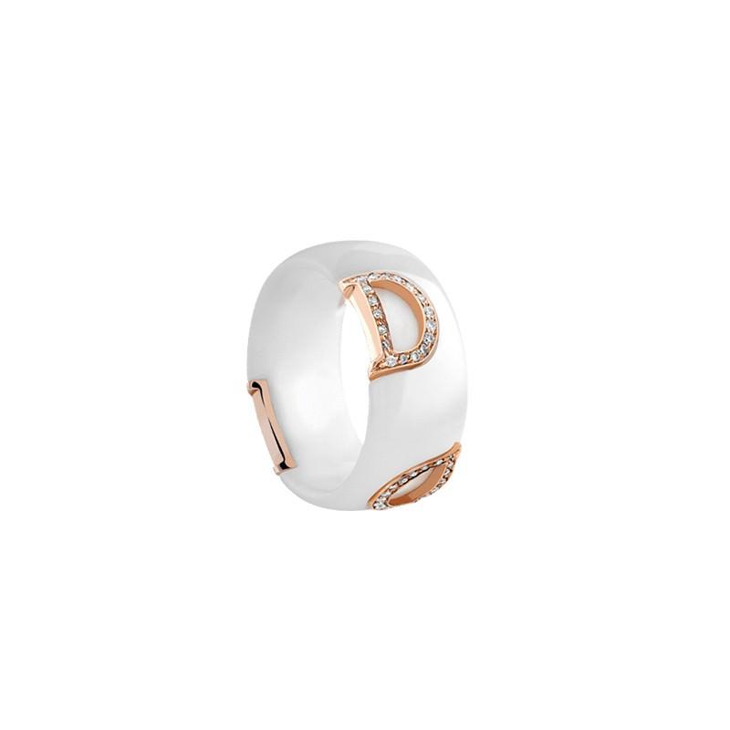 Anello D.Icon in ceramica bianca, oro rosa e diamanti