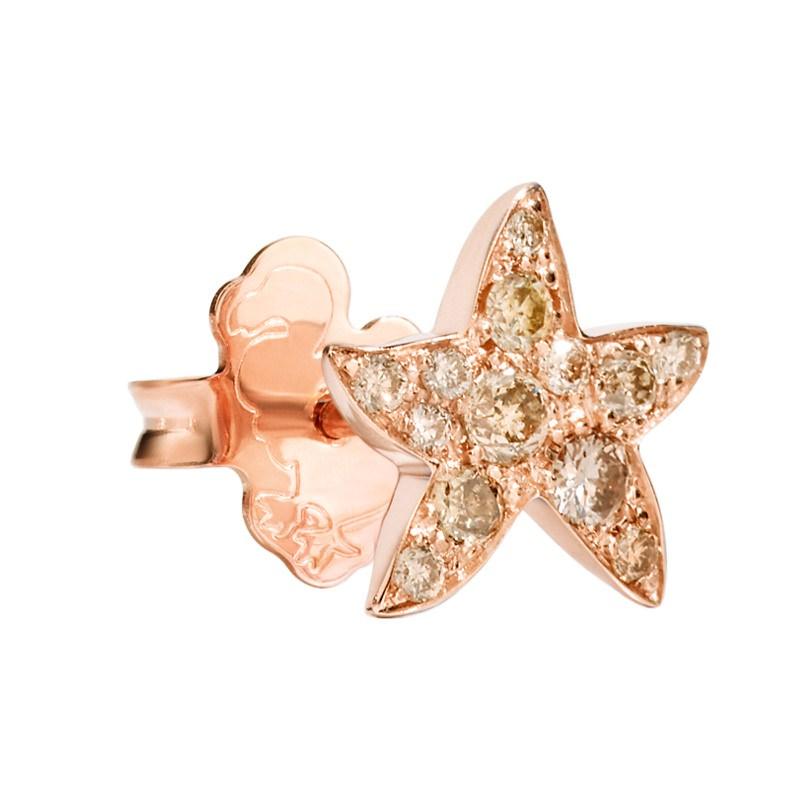 Orecchino stella marina in oro rosa e diamanti brown - Dodo